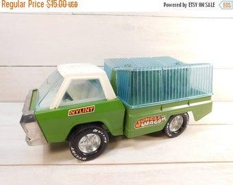20% OFF SALE - 1970's Vintage NYLINT Jungle Wagon, Pressed Steel Truck Wagon Hauler
