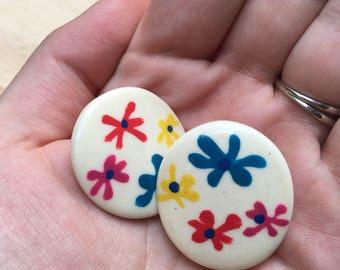 Vintage Hand Painted Flower Earrings
