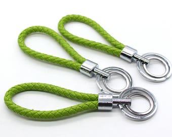 1 Piece Grass Green Braided Keychain Pu Leather Key Holder Key Hook