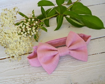 Up-Cycled Bow Tie, Size 2-8, Velcro Back , Pink