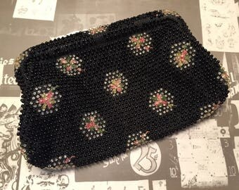 SHIPS FREE!! Vintage Black Beaded Clutch Purse