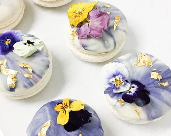 12 FRENCH MACARONS with edible floral and gold leaf in signature box