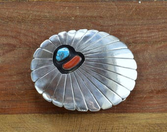 Vintage Navajo Sterling Silver, Coral, and Turquoise Belt Buckle