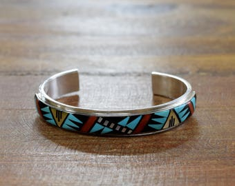Vintage Zuni Multi-Color Inlay Sterling Silver Cuff Bracelet
