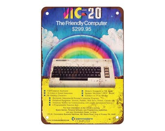 """1982 Commodore VIC-20 Computer - Vintage Look Reproduction 9"""" X 12"""" Metal Sign"""