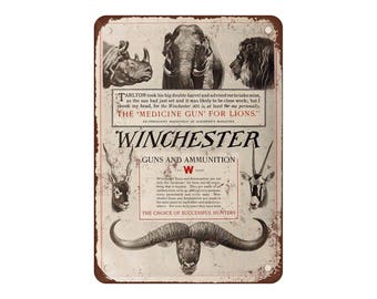"""1910 Winchester Guns and Ammunition - Vintage Look Reproduction 9"""" X 12"""" Metal Sign"""