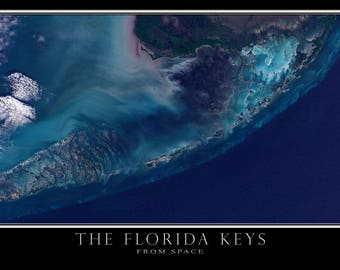Florida Keys Satellite Poster Map