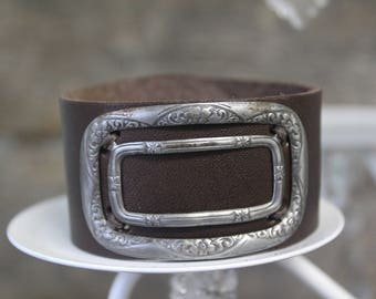 Leather Cuff with Silver Shoe Buckle