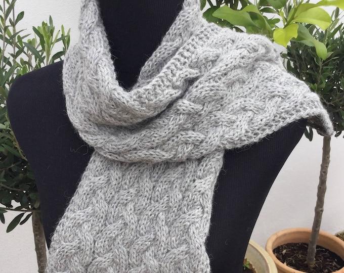 Pure alpaca cable scarf, cable scarf, alpaca scarf, dark grey scarf by Willow Luxury