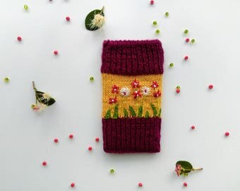 Hand Knitted Woollen Beetroot/Yellow Phone Case With Floral Embroidery, Phone Pouch, Handmade Gift, Handmade, Hand Knit Cosy, Apple iPhone 5