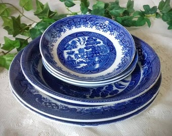English Blue Willow by Staffordshire W Adams & Sons - 6 Pieces