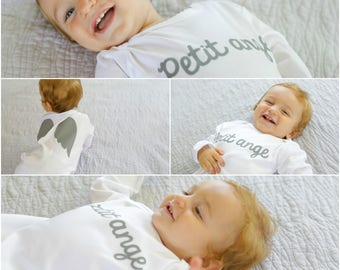 Angel wings-Little Angel-French wordings-Petit Ange-footie with Angel's wings in the back-baby angel outfit-miracle baby-angel wings