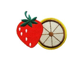 Red Strawberry and Lemon Fruit DIY Applique Iron on Patch
