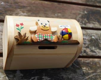 Childrens wooden money box, personalised money box, teddy money box, treasure chest money box, childrens birthday gift, vehicle moneybox,