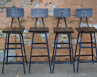 reclaimed urban bar stools set of 3 with steel backs modern salvaged barn