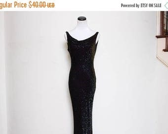 30% OFF VTG 90s Camen Marc Valvo Beaded Velvet Sequin Iridescent Cowl Floorlength  Dress S/M