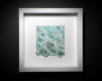 White Caps ~ Ocean Waves Glass Art Sculpture Sea Glass Framed Wall Contemporary Abstract Ocean Art Glass Nordic Glass Fine Art May Waynorth