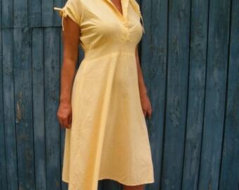 Vintage Yellow Midi Tea dress Cotton summer party dress 80s feminine romantic dress short sleeves dress pretty woman  fitted waist dress