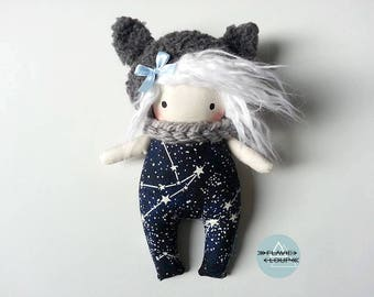 Small rag doll, art doll, Teddy, the model name: Galaxy * stars on the fabric glow in the dark!