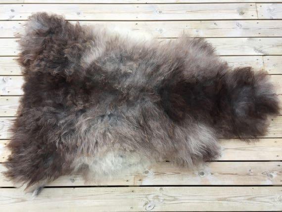 Sheepskin rug soft, volumous throw sheep skin long haired Norwegian pelt natural grey black 18040
