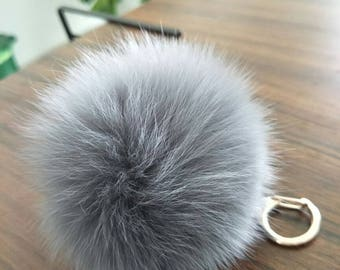 cute fur ball bag charm puffs ball keychain light grey/burgundy/white/black/baby pink/hot pink/custom real fox fuzzy keyring