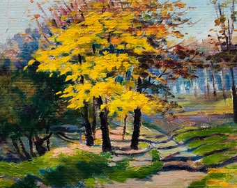VINTAGE LANDSCAPE Original Oil Painting by Soviet Ukrainian Artist Medunov D. 19769, Signed, Ukrainian Art, High Quality E