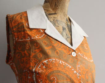 Vtg 60's Groovy Orange Cotton Dress