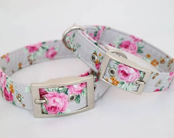 Handmade silver pink rose dog collar with silver metal buckle