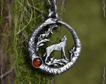 Ouroboros and wolf pendant with amber or iolite