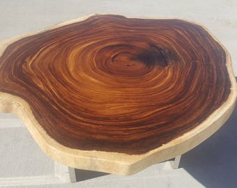 Thick Live Edge, Solid Round Slab with Polished Trestle Table Legs