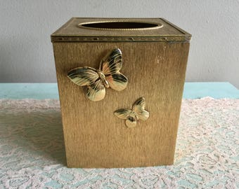 Gold Stylebuilt tissue box cover Butterfly Hollywood regency kleenex cover 1970s gold metal bathroom decor