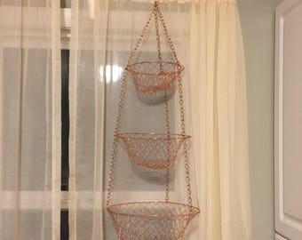 Hanging Fruit Basket, Copper Toned Hanging Kitchen Basket, 3 Tiered Fruit  Basket