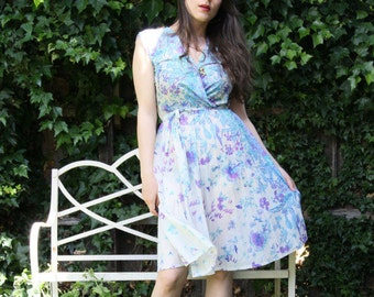 Late 70s Blue Floral Frock Dress