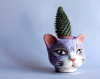 Pottery cat purple white planter, succulent cat planter, handmade pot cat, italian home decor, original gift,  idea for christmas.