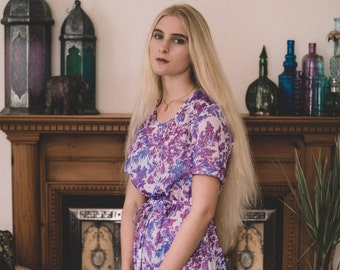Casual Boho Dress // Pastel Purple Dress // Reworked Vintage // Lightweight Boho Summer Dress // Boho Holiday Wear // Floral Retro Dress
