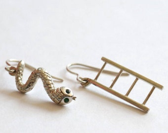Snakes and Ladders, Sterling Silver Earrings, Tsavorite Garnet Snake Eyes, Handmade in Brighton, uk