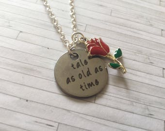 Tale as old as time necklace, Enchanted Rose Necklace, Princess Necklace, Gift for Her, Gift for Friend, Birthday Gift,