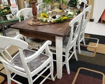 SOLD Vintage Farmhouse Dining Table Chairs Shabby Chic Dining Set SOLD