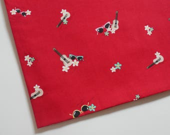 Japanese Cotton Fabric red Hawaii guitar floral sunglasses, 1 yard