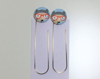 Fabric Button Bookmarks |  Paperclips - Quirky woodland animal with glasses fabric covered buttons (Set of 2)