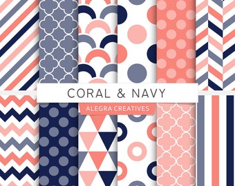 Coral & Navy digital paper, coral, blue, polka dot, chevron, stripes, scales, geometric patterns, scrapbook papers (Instant Download)