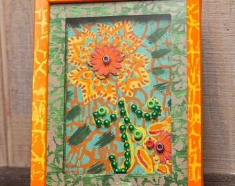 Hippie Flower mixed media art in frame