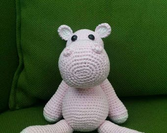 Crochet Hippo, Crochet Pink Hippo, Hippo Toy, Hippo Toy Gift, Hippo Plush, Soft Hippo Toy, Stuffed Hippo, Stuffed Animal, Baby Girl Gift