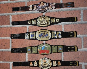 7 WWF Custom made Attitude Era Custom Belts for Hasbro Mattel Wwe (Action Figures Not Included)