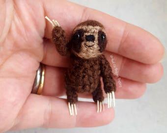 Sloth, three toed sloth, miniature sloth, sloth gift, sloth lover, bjd pet, mini sloth, tiny sloth, baby sloth, sloth plush, vegan.