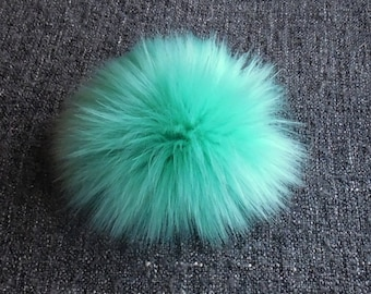 Size M, (Mint) faux fur pom pom 5 inches/13 cm