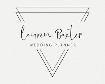 Triangle minimalist premade logo, Premade logo design, Business logo, Wedding planner logo, Feminine logo, Geometric triangle, Logo Brand