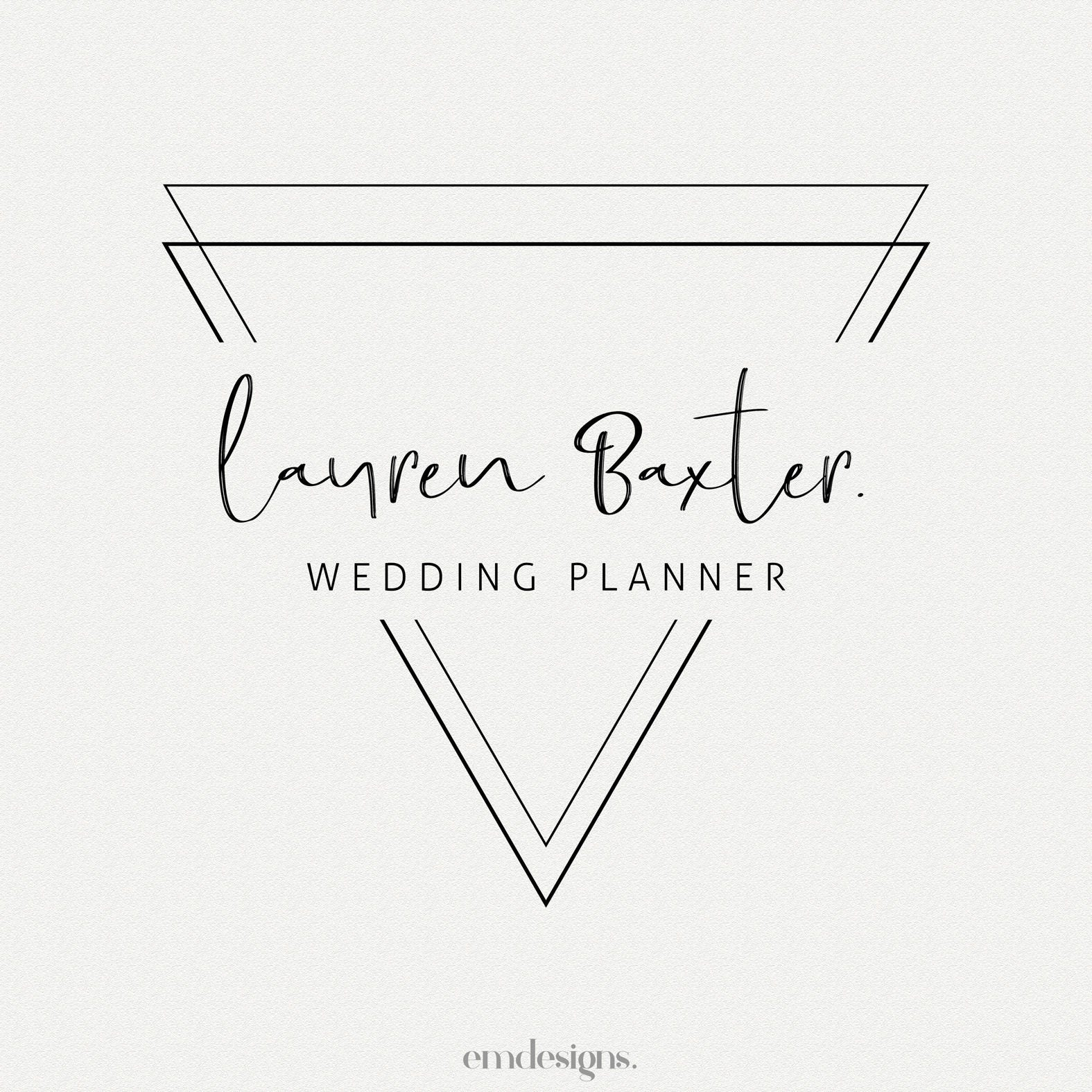 Triangle Minimalist Premade Logo Design Business Wedding Planner