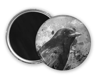 Crow Fridge Magnet birdwatcher gift goth gift nature lover gift kitchen magnet refridgerator magnet crow button magnet party favours