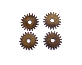 SET of 4 steampunk gear charm bronze 25mm